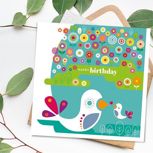 Birthday Birds Flower Meadow square card blank inside