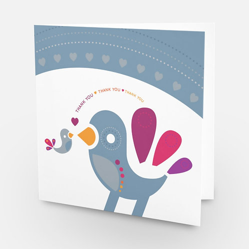 Thank You square card Winter Birds - blank inside - grey blue white winter