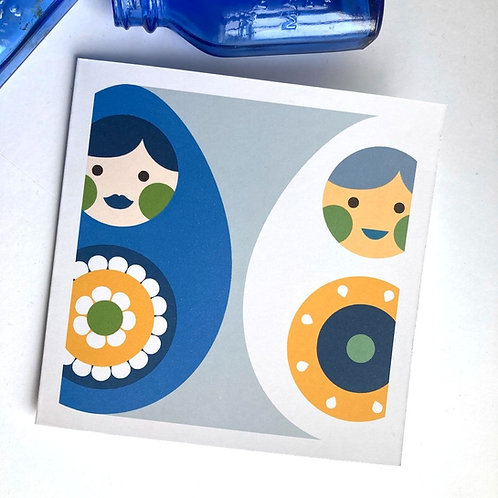 Russian Doll everyday all occasion square card blank inside