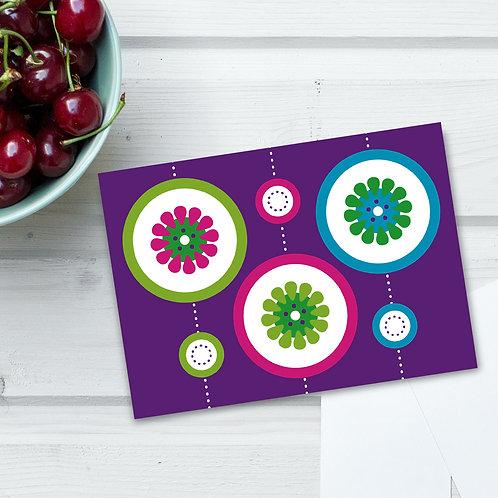 "Purple Citrus Slice 4x6"" blank card"