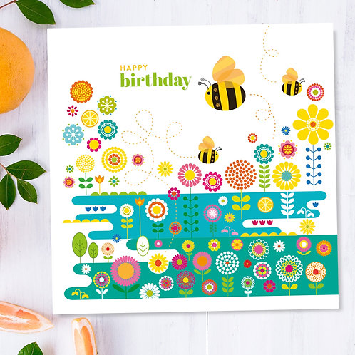 Birthday Bees Flower Meadow square card