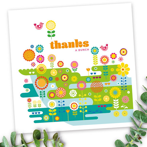 Birds Flower Meadow Thanks a Bunch square card