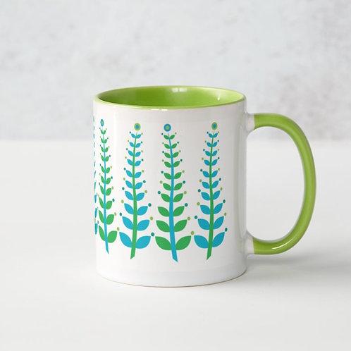 Summer Rockpool Seaweed mug - blue & green