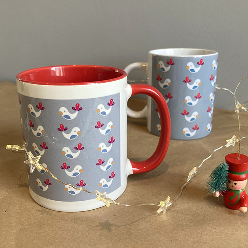 Winter Birds Grey Mug