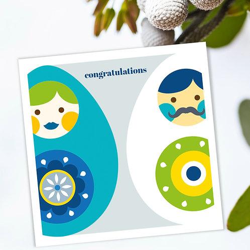 Congratulations engagement, wedding, anniversary card - happy eggs