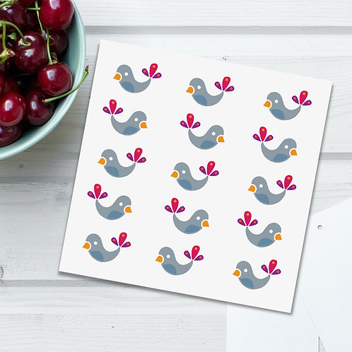 Winter Bird Babies White square blank card