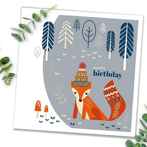 Grey fox birthday card - contemporary Scandi-style design blank inside