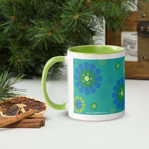 Aqua Dream Daisies mug - blue & green