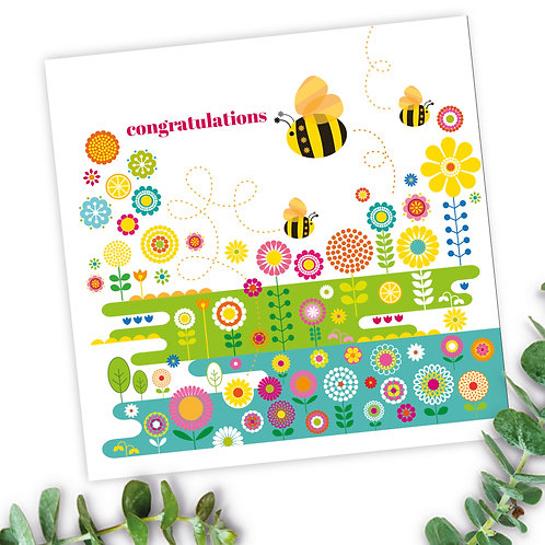 Bees Flower Meadow Congratulations square card