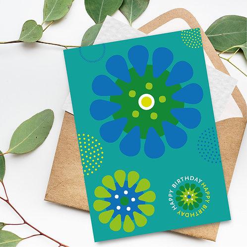 Happy Birthday Aqua Daisies green card blank inside