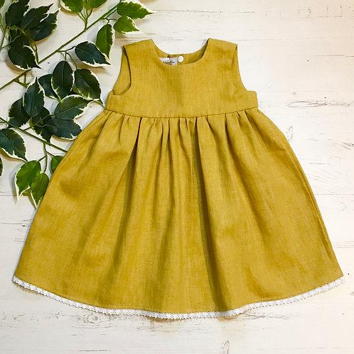 Rose Dress - Mustard Linen