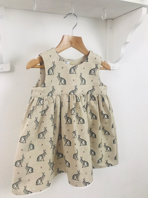 Rose Dress - Linen Winter Hares