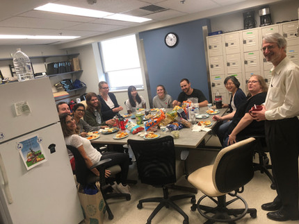 Celebrating Annette's birthday with the Brodsky Lab