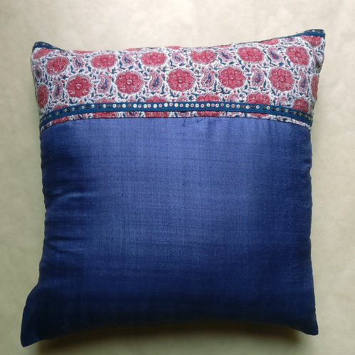 Blue Floral Silk Cushion Cover - Set of 2