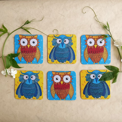 Sunshine Owls Coasters - Set of 6