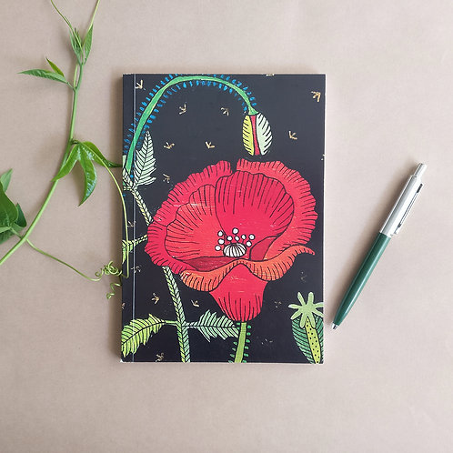 Poppies Notebook with plain white sheets