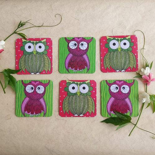 Vibrant Owl Coasters - Set of 6