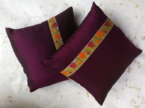 Pure Silk Purple Cushion Cover - Set of 2