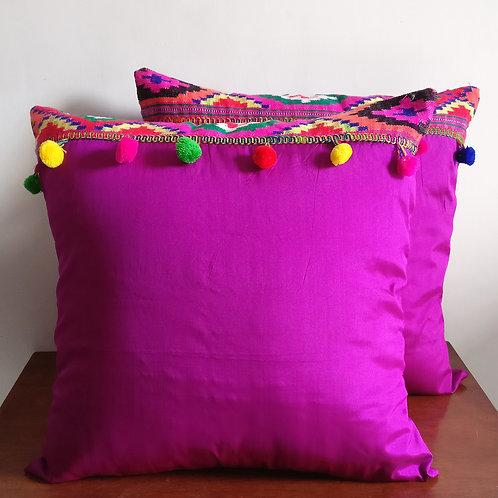 Crimson Boho Silk Cushion Cover - Set of 2