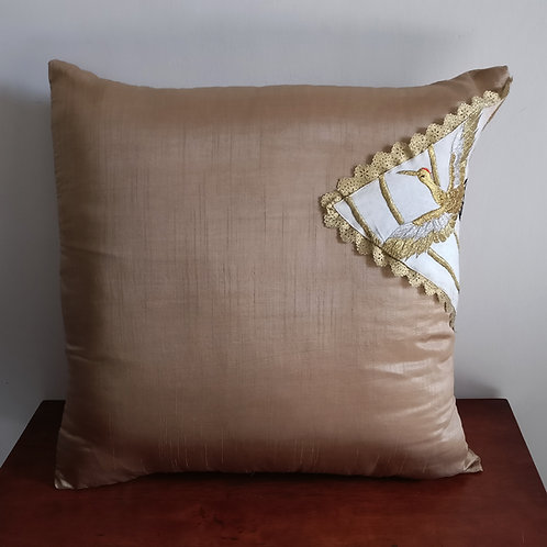 Golden Bird Silk Cushion Cover - Set of 2