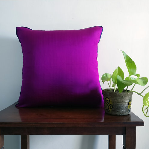 Purple Silk Cushion Cover with Blue Trim - Set of 2