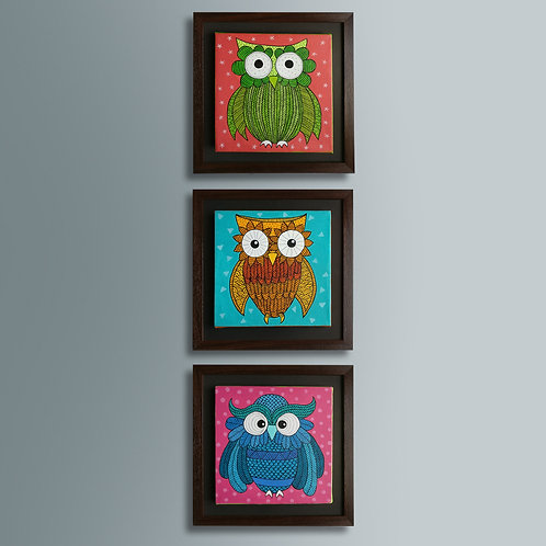 The Owlsome Canvases - Set of 3