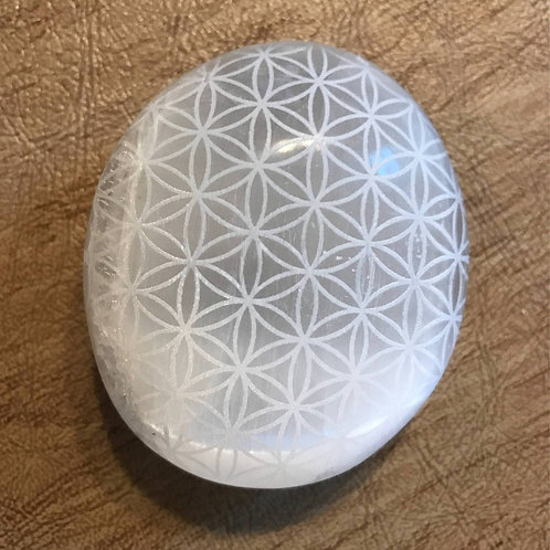 Selenite Palm Stone (Etched)