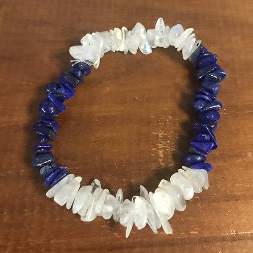 Lapis Lazuli and Rainbow Moonstone Bracelet