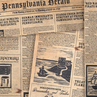 Ficticious newspaper from 1720's Colonial America
