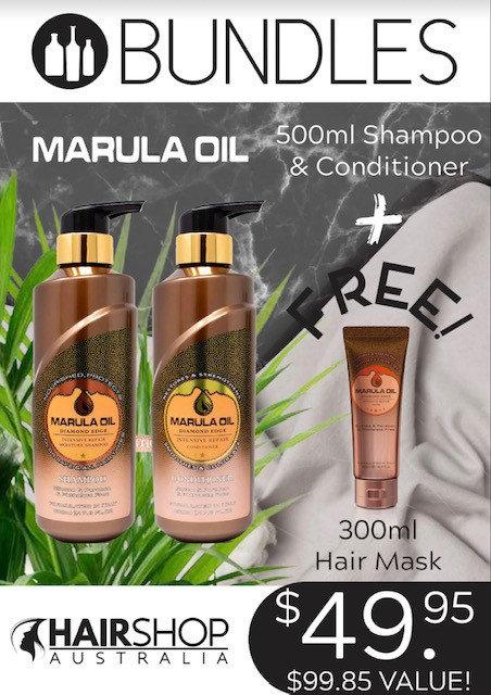 BUNDLES MARULA OIL- Shampoo 500ml + Conditioner 500ml + FREE Serum 60ml