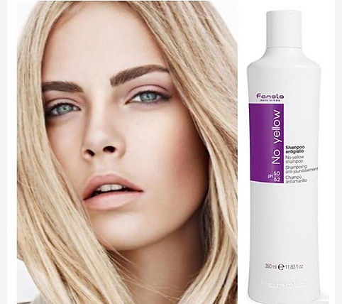 Fanola's No Yellow shampoo is ideal for grey, super-lightened or de-coloured hair. Its violet pigment tones down unwanted yellow, light blonde or streaked hair
