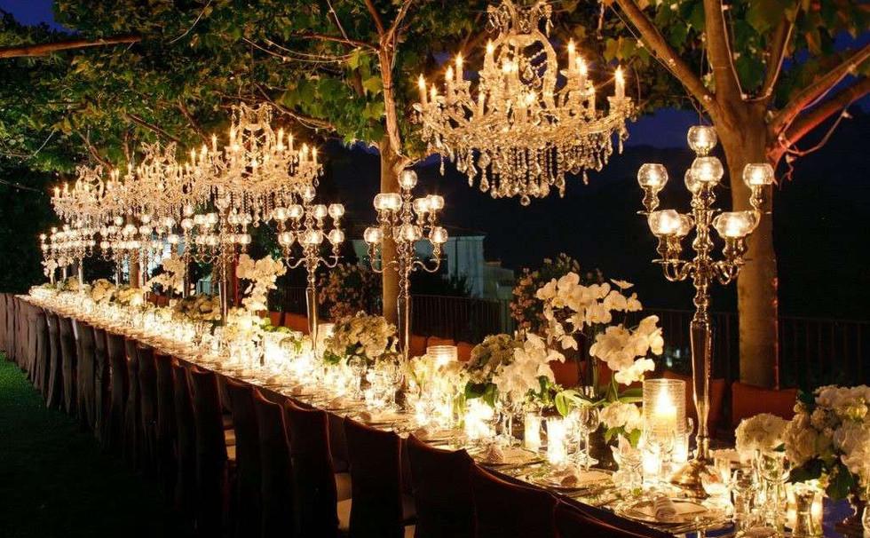 illuminazioni matrimonio di sera