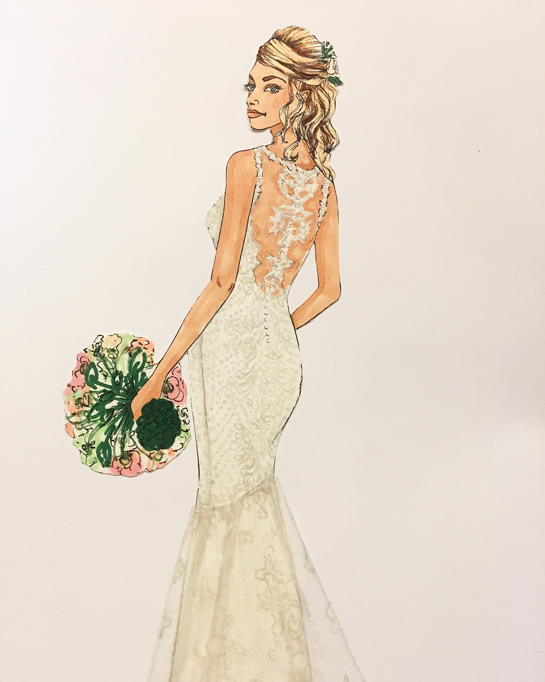 Commissioned bridal illustration