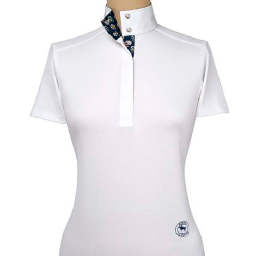 Essex Talent Yarn Short Sleeve Show Shirts White w/Printed Collar