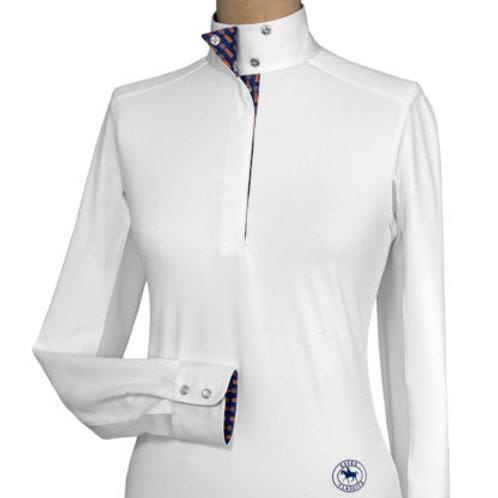 Essex Talent Yarn Long Sleeve Show Shirts White w/Print Collar