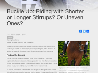 Buckle Up: Riding with Shorter or Longer Stirrups? Or Uneven Ones?