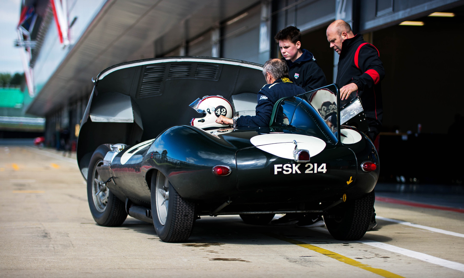 Steve Brooks' Jaguar D-Type at the 2018 Silverstone Classic Preview Day