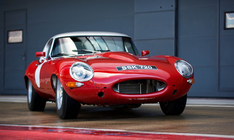 Red Jaguar E-Type at the 2018 Silverstone Classic Preview Day