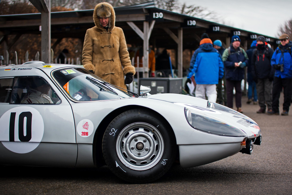 Frauke Feess with Afschin Fatemi's 1964 Porsche 904 Carrera GTS at the Goodwood