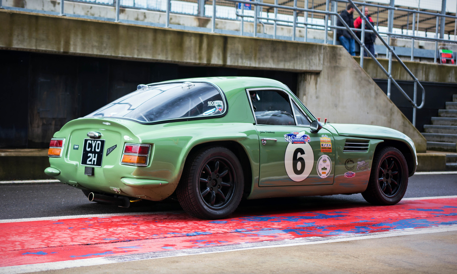Johan Denekamp's 1969 TVR Tuscan at the 2018 Silverstone Classic Preview Day