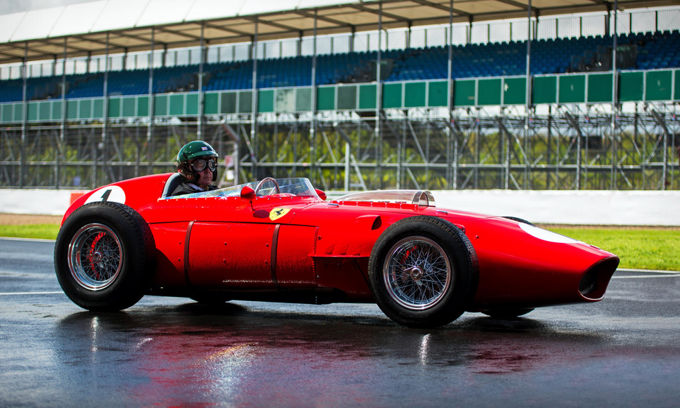 Martin Brundle drives Tony Best's 1960 Ferrari 246 Dino at the 2018 Silverstone Classic Preview Day