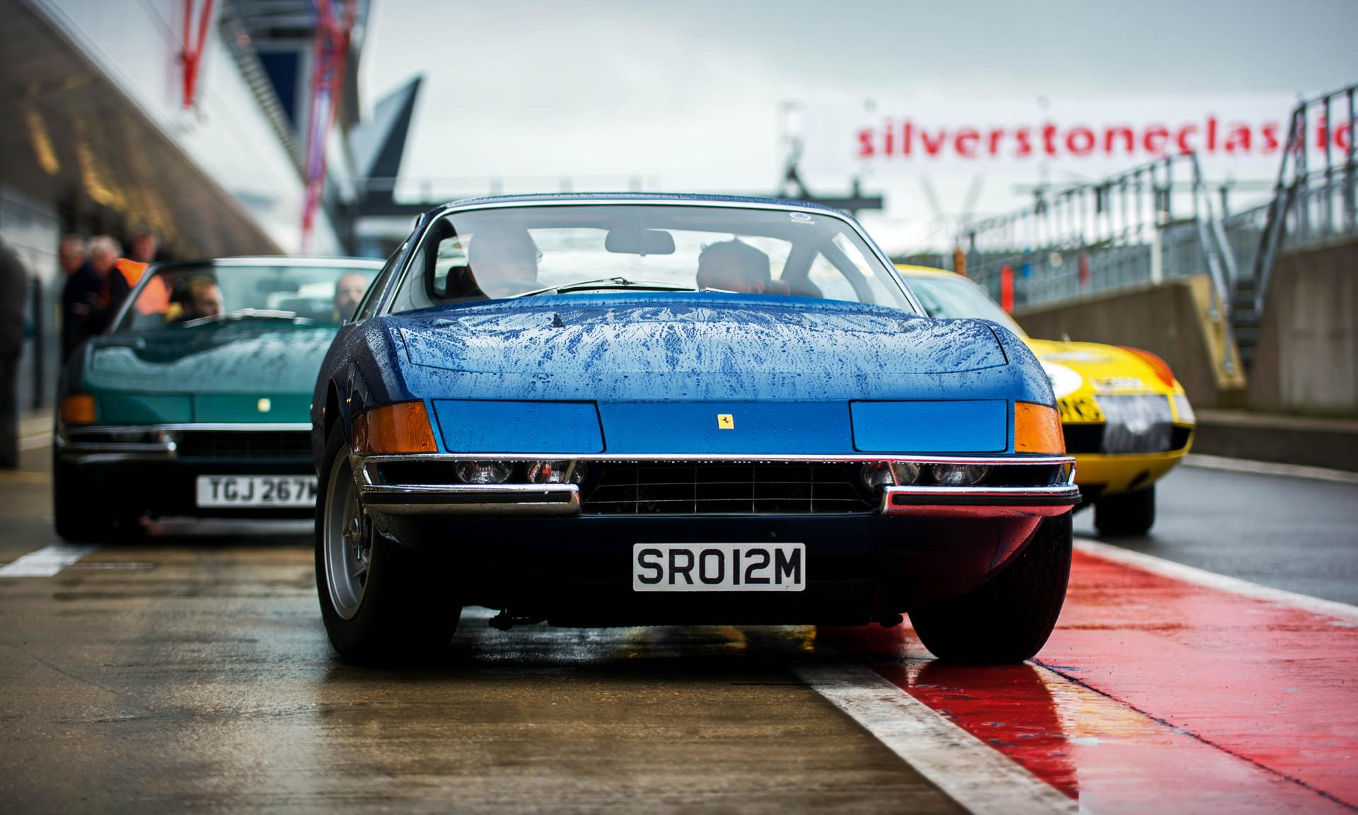Trio of Ferrari 365 GTB 4 Daytonas at the 2018 Silverstone Classic Preview Day