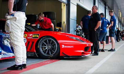 Max Girardo's 2001 Ferrari 550 GT1 at th