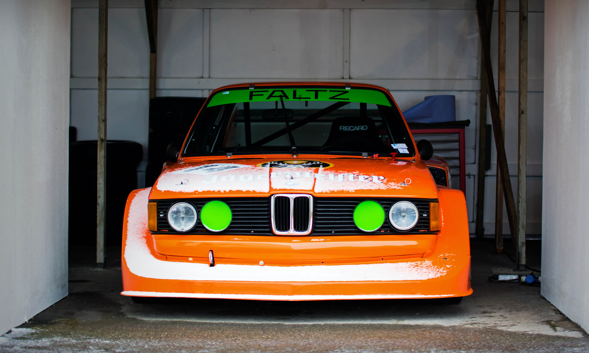 Hans Stuck's 1977 Jaegermeister BMW 320 Group 5 Turbo at the Goodwood 76MM