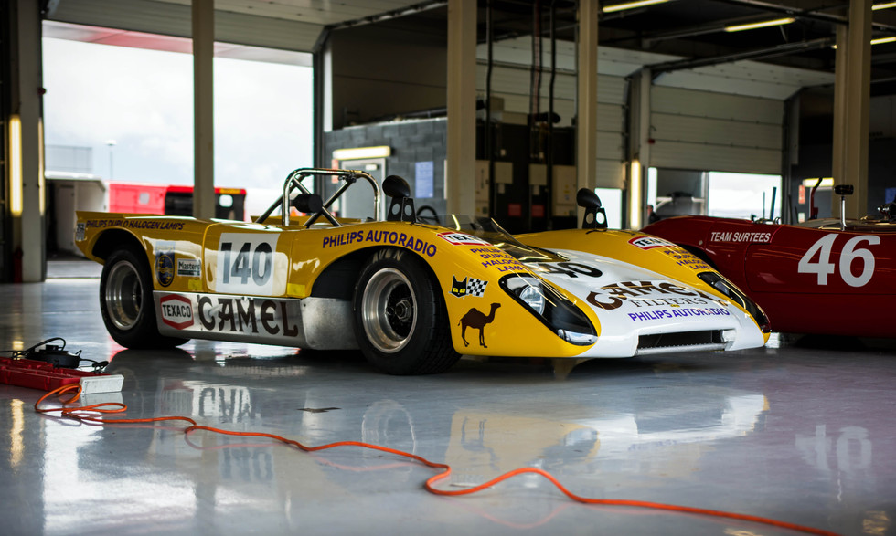 Goncalo Gomes & James Claridge's 1971 Lola T210 at the 2018 Silverstone Classic Preview Day