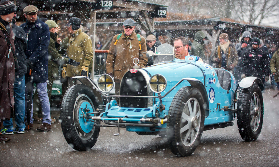 Bugatti braves the snow at the Goodwood 76MM