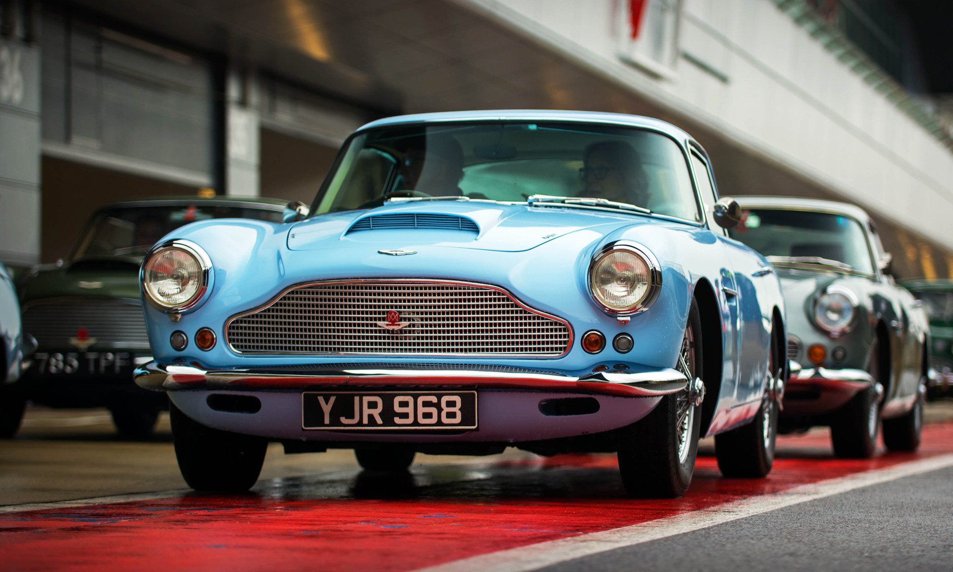 Baby Blue Aston Martin DB4 at the 2018 Silverstone Classic Preview Day