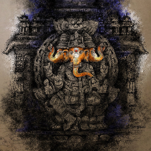 Print - Teen Murthi Ganesha