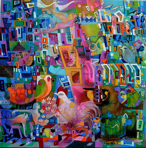 abstract urban colourful painting