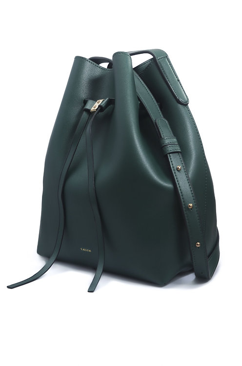 Drawstring Bucket Sling Bag - Green